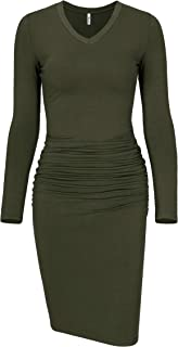 Missufe Women's Long Sleeve V Neck Midi Casual Fitted Basic Ruched Bodycon Dress