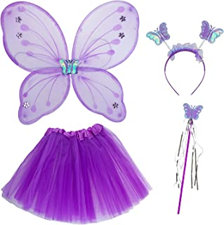 Lux Accessories Halloween Girls Fairy Skirt Butterfly Wing Headband Wand Cute Costume Set (4pc)