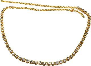Traditional Wedding Yellow Non-Precious Metal White Stone Kundan Kamarband Belly Chain 5 for Women and Girls