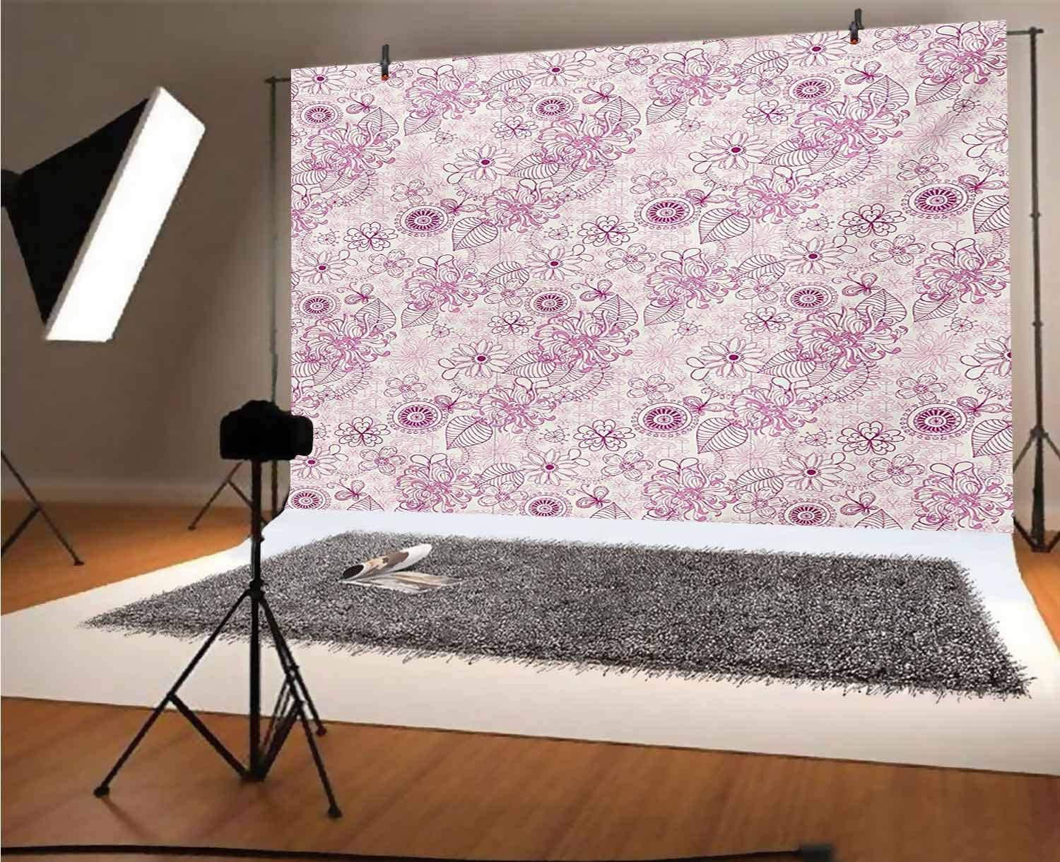 Tattoo 15x10 FT Vinyl Backdrop PhotographersJapanese Landscape of Rising Sun Waves with Red and Pink Foam Print Background for Party Home Decor Outdoorsy Theme Shoot Props