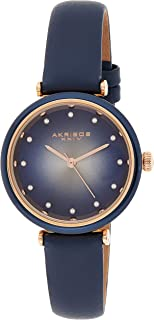 Akribos XXIV Leather Women's Watch – Genuine Swarovski Crystal Markers on Two Tone Gradient Dial Sunray Dial