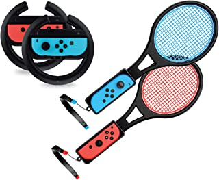 Steering Wheel / Tennis Racket Combo Pack for Nintendo Switch - by TalkWorks Joy Con Controller Grip Racing & Sports Game ...