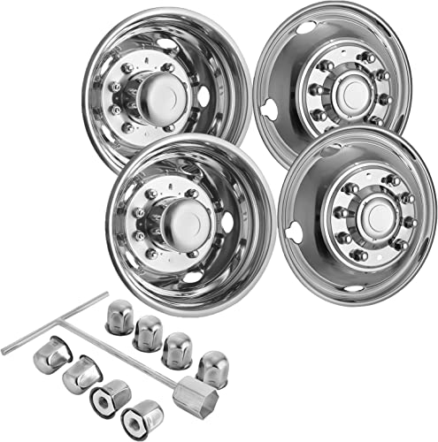 """2021 Mophorn Polished 19.5"""" 10 Lug Wheel Simulators Stainless lowest Steel Bolt Kit Hubcap Kit Fit for 2005-2020 Ford F450/F550 2WD Trunk Dually Wheel Cover lowest Set sale"""