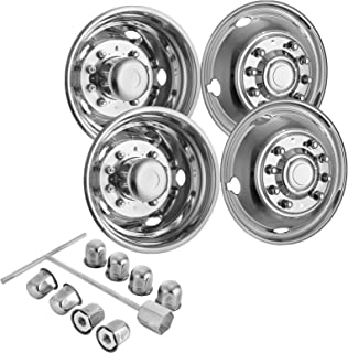 Mophorn 4 PCS of Wheel Simulators 19.5 Inch 10 Lug Hubcap Kit Fit for 2005-2017 Ford F450 - F550 2WD Trunk Polished Stainless Steel Bolt On Dually Wheel Cover Set (19.5