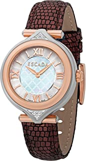 Escada Isabella Women Analogue Watch With Silver Mother Of Pearl Dial And Purple Leather Strap - E5130035