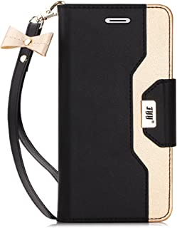 FYY Leather Case with Mirror for iPhone 8/iPhone 7, Leather Wallet Flip Folio Case with Mirror and Wrist Strap for iPhone 8/iPhone 7 Black