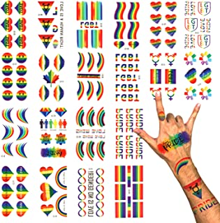 Phogary LGBT Gay Pride Temporary Tattoos (100+ pcs, 20 sheets), Rainbow Tattoos, Waterproof Body Paints Decals for Celebration, Party, Activities
