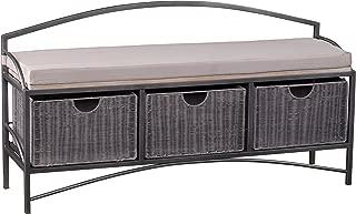 Javu Gray Wash Storage Bench - Three Removable Rattan Baskets - Shabby Chic Metal Frame