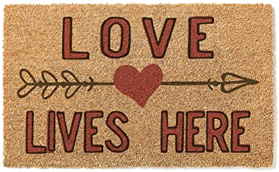 Kindred Hearts 18x30 Coir Doormat Love Lives Here Heart, Multicolor