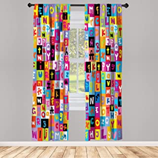Ambesonne Abstract Window Curtains, Colored Alphabet Letters Pattern Education School Puzzle Children Graphic Print, Lightweight Decorative Panels Set of 2 and Rod Pocket, 56