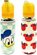 The Little Lookers™ Soft Stretchable Baby Feeding Bottle Cover with Easy to Hold Strap | Suitable for 120ml, 150ml, 240ml | Cute Animated Patterned Pack of 2 (Donald Duck & Minnie Mouse)