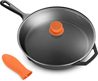 """Legend Cast Iron Skillet with Lid   Large 12"""" Frying Pan with Glass Lid & Silicone Handle for Oven, Induction, Cooking, Pizza, Sauteing, Grilling   Lightly Pre-Seasoned Cookware Gets Better with Use"""