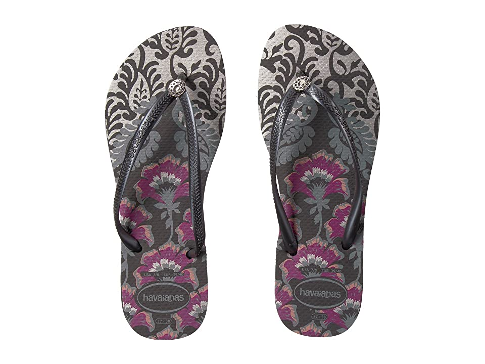Havaianas Slim Royal Flip Flops (Black/Dark Grey/Dark Grey) Women