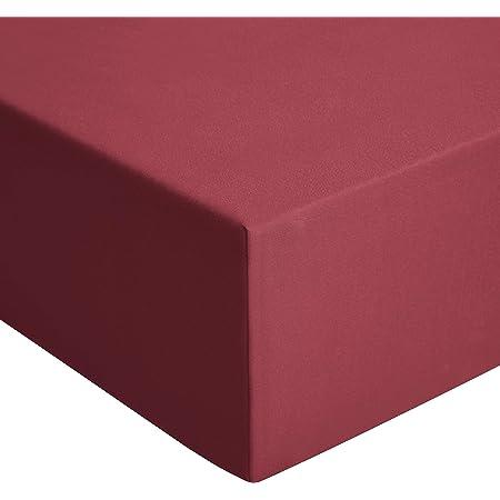 Amazon Basics Drap-housse en jersey, Rouge - 80 x 200 cm