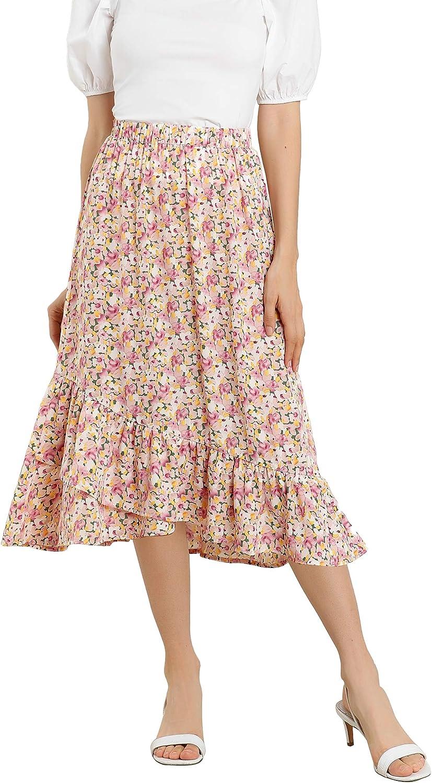 1980s Clothing, Fashion | 80s Style Clothes Allegra K Womens Floral Elastic Waist Ruffle High Low Hem Spring Vintage Skirt $22.99 AT vintagedancer.com