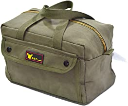 G & F Products Government Issued Style Mechanics Heavy Duty Tool Bag with Brass zipper and side pockets, tool bag for car...