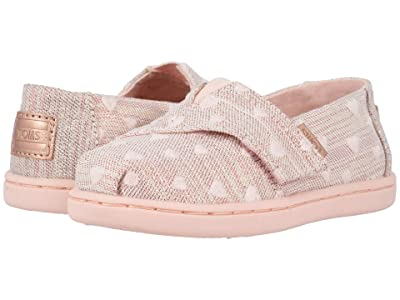 TOMS Kids Alpargata (Toddler/Little Kid) (Rose Cloud Heartsy Twill Glimmer Embroidery) Girl