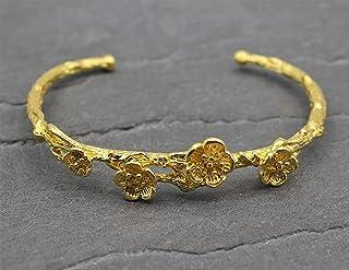 Blüten Armreif Floral Filigran 18 karat gold beschichtet 750er vergoldet Blumen Armschmuck verstellbar Blumen Zweig 18K be...