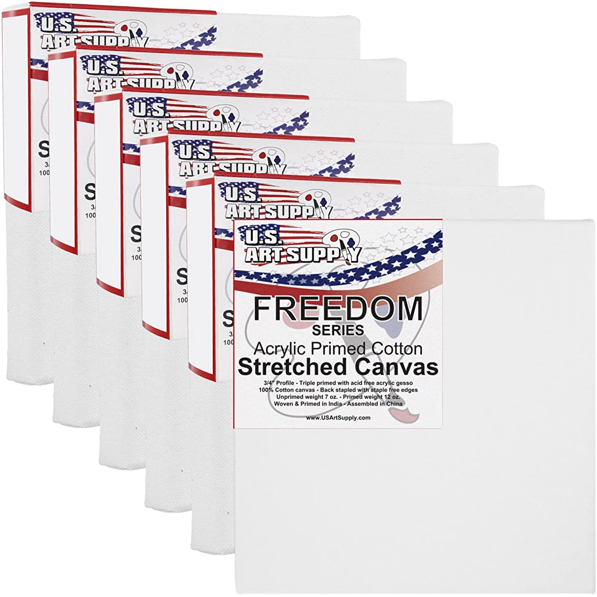 US Art Supply 4 x 4 inch Professional Quality Acid Free Stretched Canvas 6-Pack - 3/4 Profile 12 Ounce Primed Gesso - (1 Full Case of 6 Single Canvases)