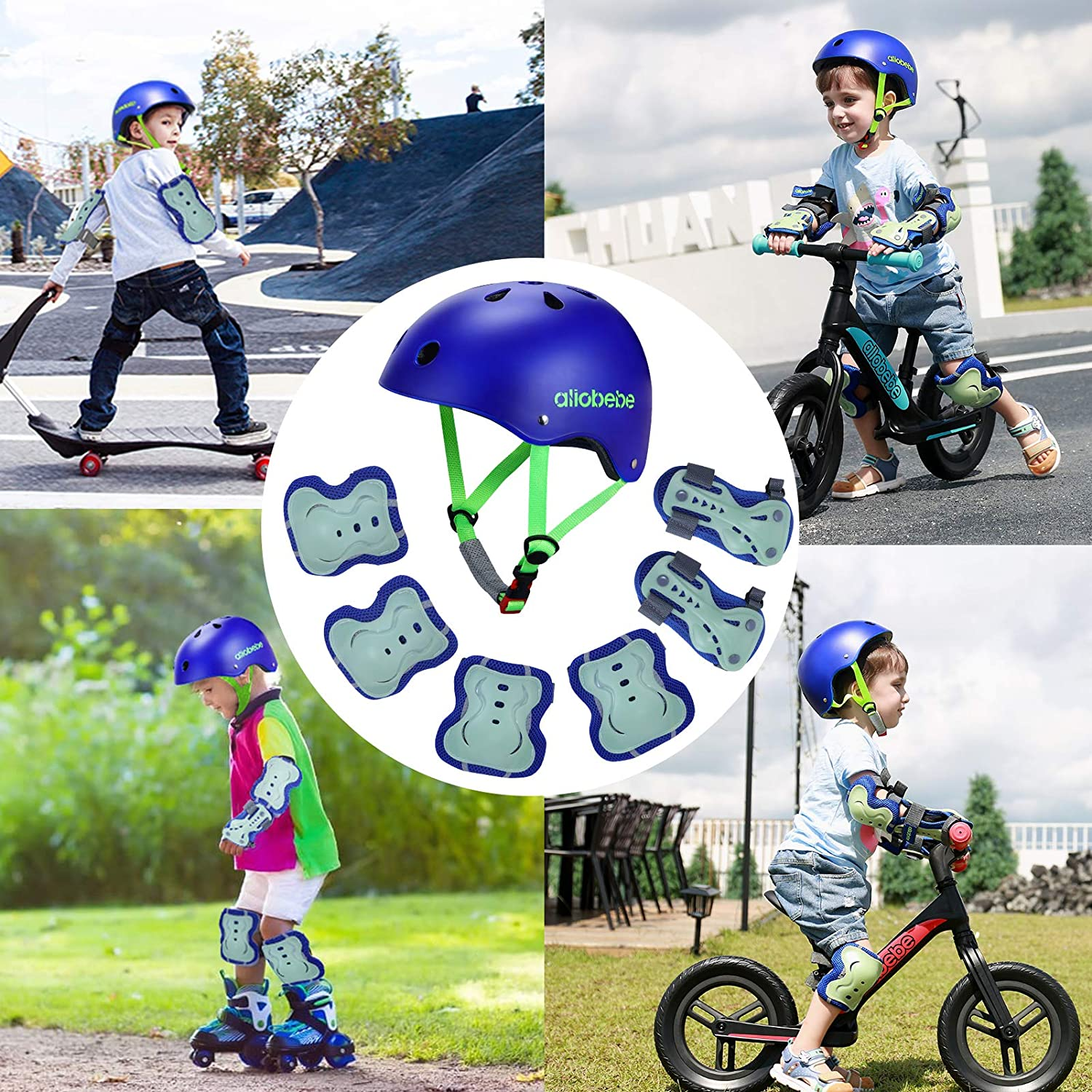 Adjustable Child Cycling Helmet Sport Protective Gear Set Knee Pads Elbow Pads Wrist Guards for 3-10 Years allobebe Kids Bike Helmet Toddler Helmet Cycling Skating Scooter Helmet and Pads