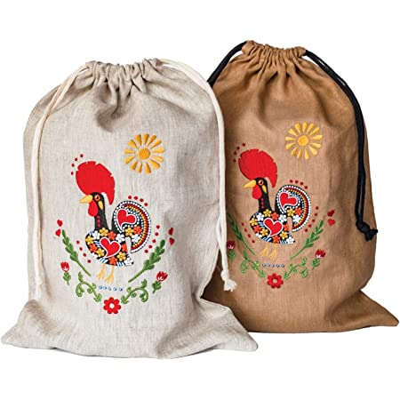 Jewelry gift bag Ethnic style Latvian embroidery Cross stitch White Christmas Gift Bag Set of Country style linen bags