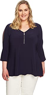 Chaus New York Plus Size Peekaboo ¾ Length Sleeve Stretch Knit Top with Zipper Front (3XL)