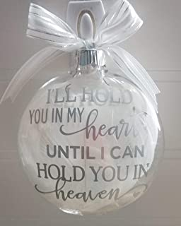 Amy's Bubbling Boutique Heaven Memorial Ornament Filled with White Angel Wings Miscarriage Baby Loss Heaven Ornament, in Loving Memory Gift