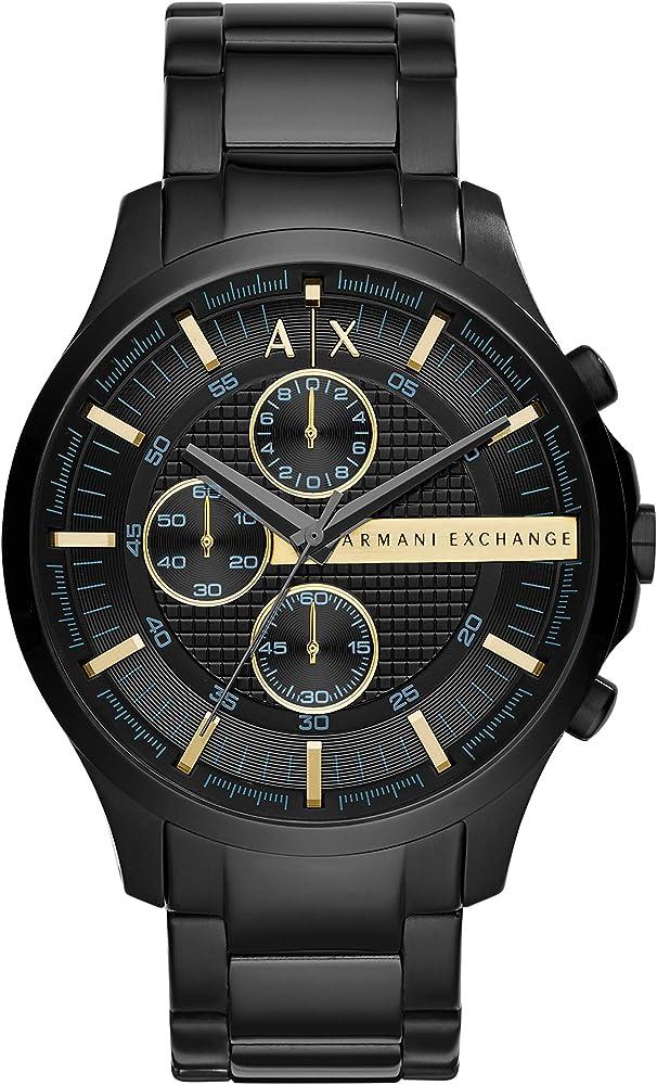 Armani exchange, orologio, cronografo per uomo,  in acciaio inossidabile spazzolato e lucido AX2164