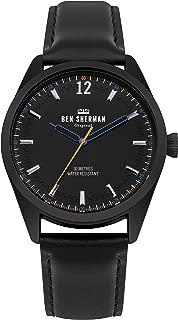 Men's Spitalfields Social Quartz Watch with Leather Calfskin Strap, Black, 22 (Model: WB019BB