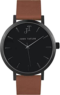 Men's and Women's Black Minimalist Watch - Tan Leather Strap - John Taylor Watches