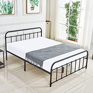 DIKAPA Full Size Bed Frame/Metal Platform Mattress Foundation/Box Spring Replacement with Headboard//Easy to Assemble