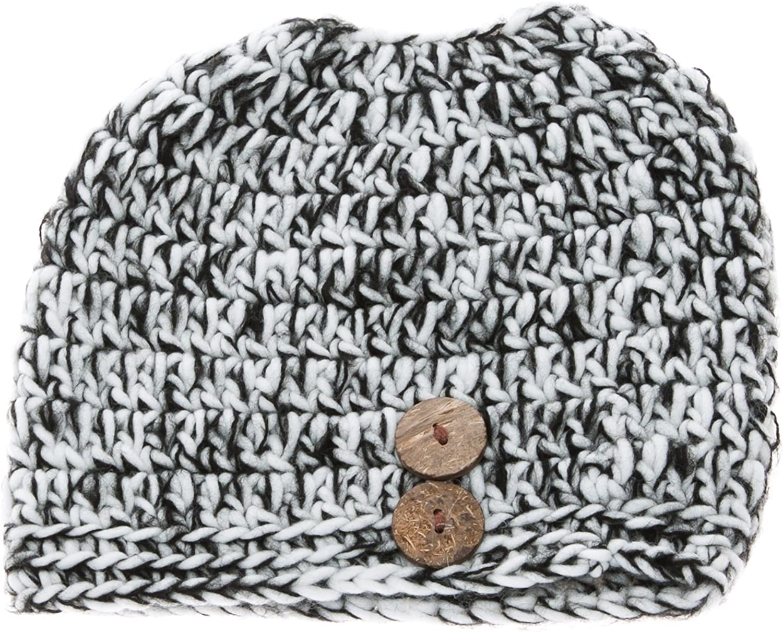 Chunky Crocheted Messy Bun Beanie Pony Tail Hat Toboggan Cap Bun Wood Buttons