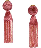 Oscar de la Renta - Short Beaded Tassel Clip Earrings