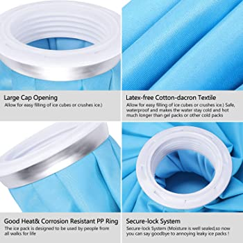 Ice Bag, Cold Pack Reusable Cold Bag Hot Water Bag for Injuries, Hot & Cold Therapy and Fast Pain Relief, 3-Pack, 3 S...