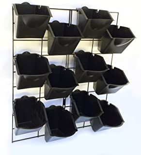 Vertical Wall Garden Planter Kit with 12 Pots - Metal Frame Size 22