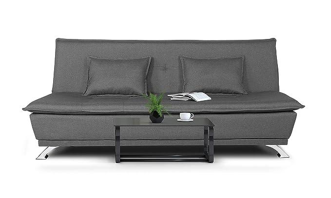 Adorn India Arden 3 Seater Sofa Cum Bed Fabric  Light Grey  Sofas   Couches