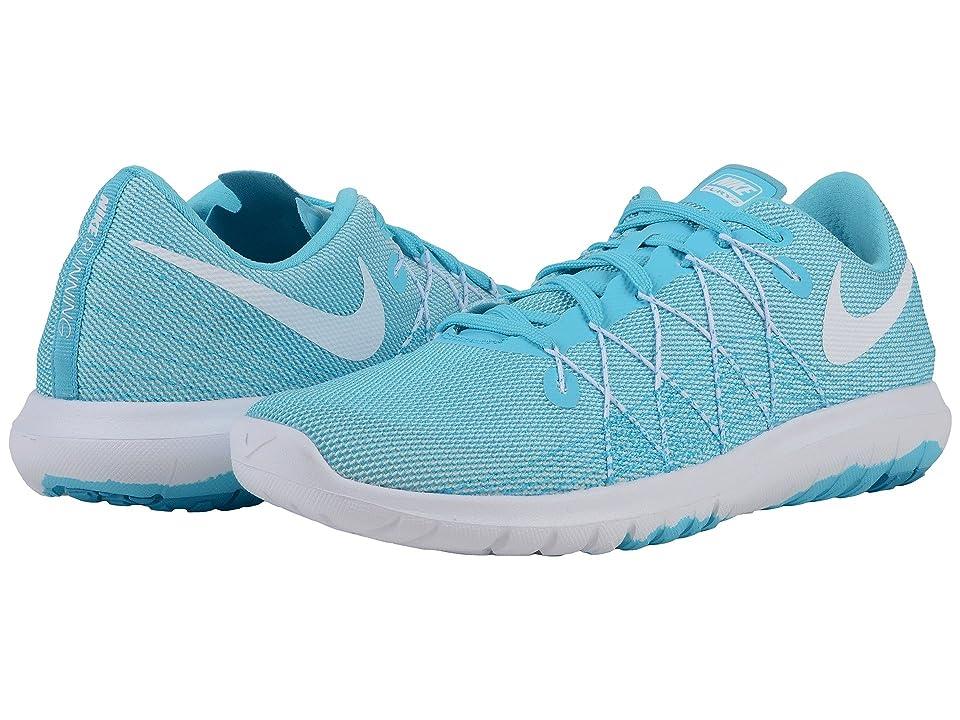 Nike Flex Fury 2 (White/Blue Lagoon/Gamma Blue) Women