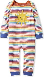 Organic Cotton Baby Romper Girl Boy - Sunshine Applique Rainbow Stripes (0-2 Years)