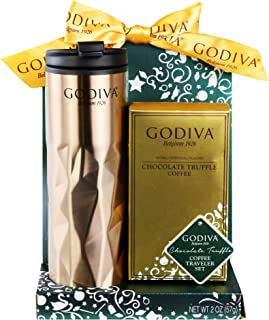 Thoughtfully Gifts, Godiva Coffee Travel Set, Includes Travel Mug with Lid and Package of Chocolate Truffle Coffee