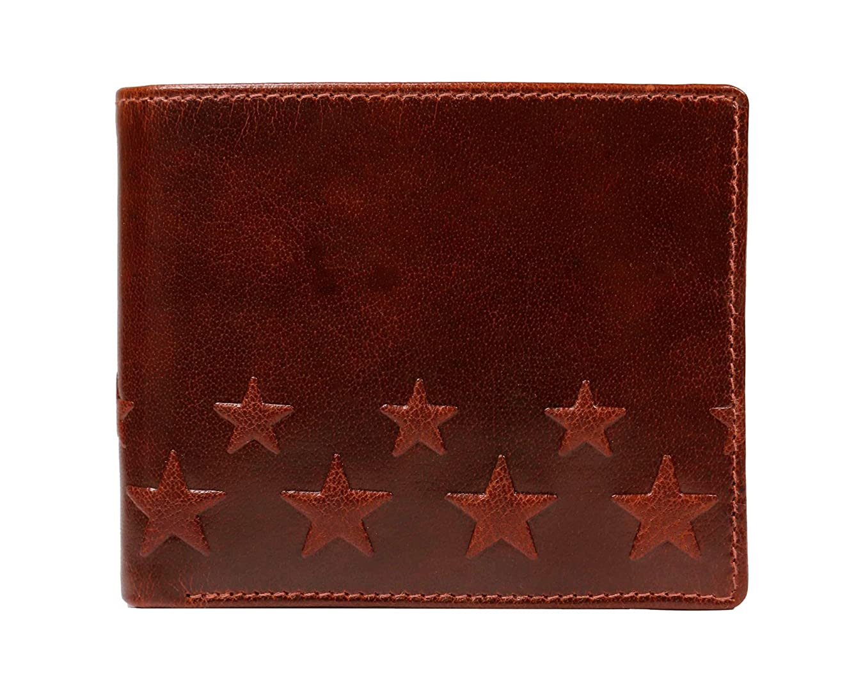 控える遺産より平らなプラスエイチ(Plus H) 二つ折り財布 浮彫りデザイン 星 透明感がきれいな高級オイルレザー PH8125