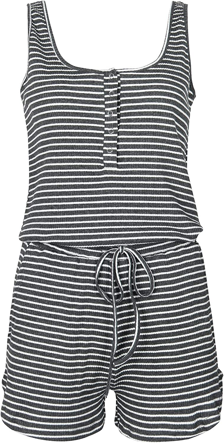 Artfish Women Sleeveless Buttons Lounge Pajamas Rompers Striped Shorts Jumpsuit with Pockets