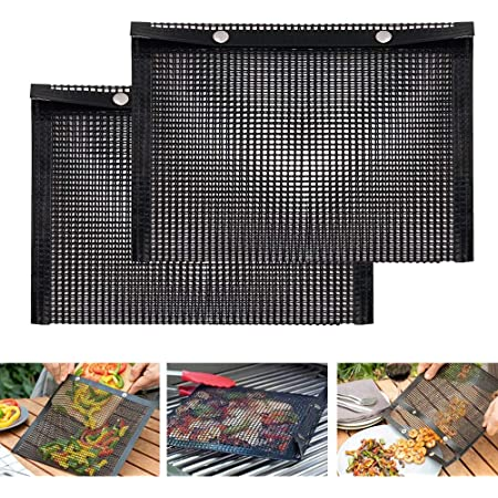 SEMANJLL 2PCS Grill Mesh Bags,Non Stick Barbecue Grilling Bag Reuseable BBQ Pouches High Temperature Resistance Large Grill Mesh Bag for Indoor Outdoor CharcoalGrilling Cooking Picnic Barbecue