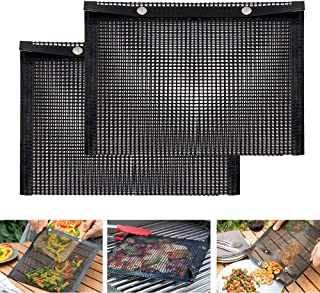 SEMANJLL 2PCS Grill Mesh Bags,Non Stick Barbecue Grilling Bag Reuseable BBQ Pouches High Temperature Resistance Large Gril...