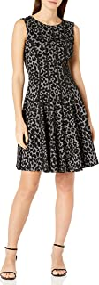 GABBY SKYE Women's Cap Sleeve Round Neck Leopard Print Fit and Flare Dress