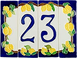Números de casa de cerámica, número de casa de cerámica con tema de limón, objeto de cerámica para exteriores coloreado a mano nlp2 Medidas: H 12cm, ancho total 16cm