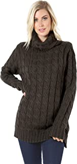 Sweaters for Women Turtle Cowl Neck Ribbed Cable Long Sleeve Acrylic Knit Jumper
