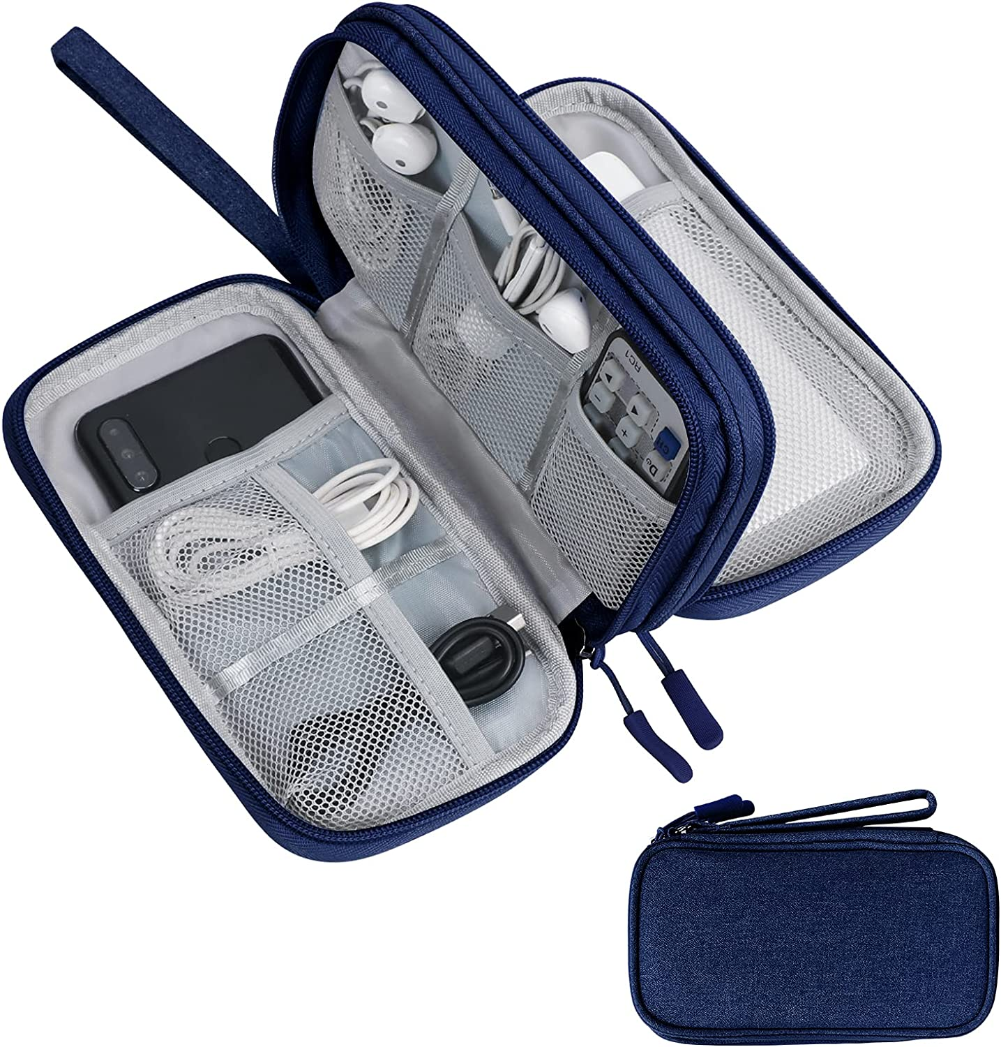 Skycase Travel Cable Organizer,Electronics Accessories Cases, All-in-One Storage Bag,Accessories Carry Bag for USB Data Cable,Earphone Wire,Power Bank, Phone,Navy