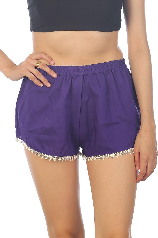 LOFBAZ Summer Beach Sleep Casual Yoga Shorts for Women Elastic Waist Lace
