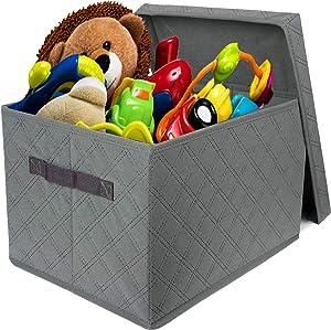 Storage Box with lid Foldable Linen Fabric Clothing Storage Basket Bins Toy Storage Boxes Organizer