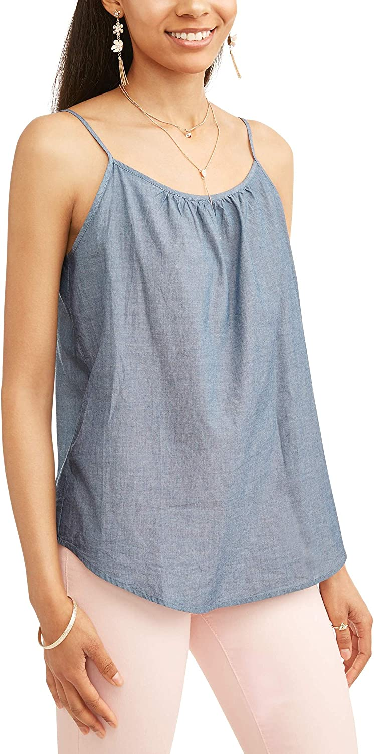 Time and Tru Women's Essential Woven Cami Tank - Chambray Blue